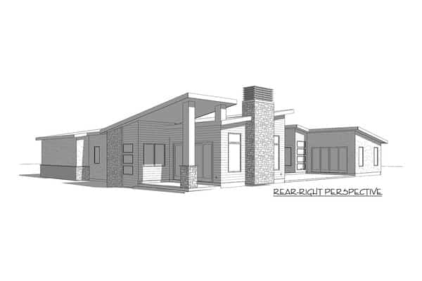 This is the rear-right elevation of the Contemporary-style house showcasing its unique shapes along with a covered patio area with a tall ceiling.