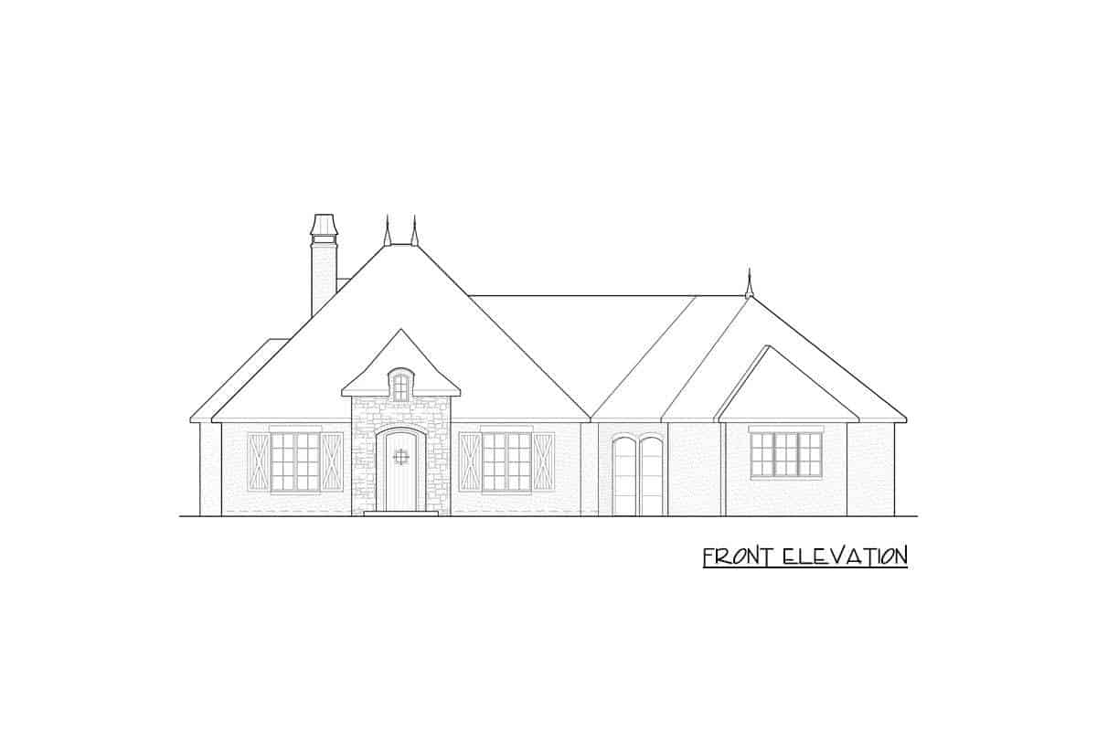 Front elevation sketch of a single-story French Country home.
