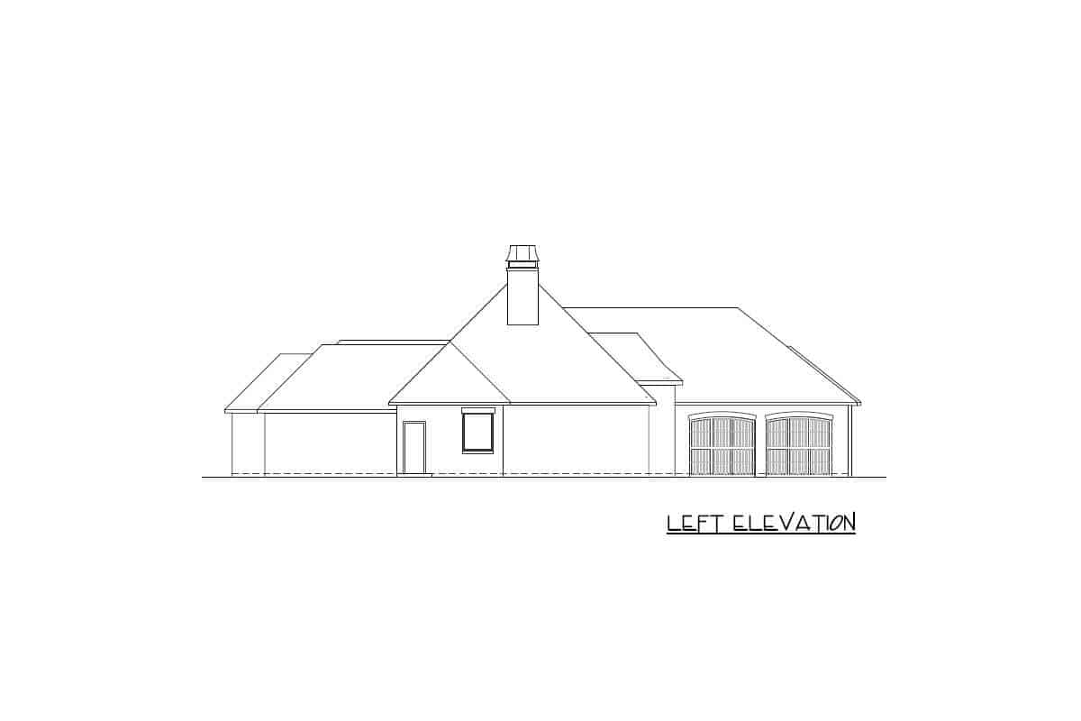 Left elevation sketch of a single-story French Country home.