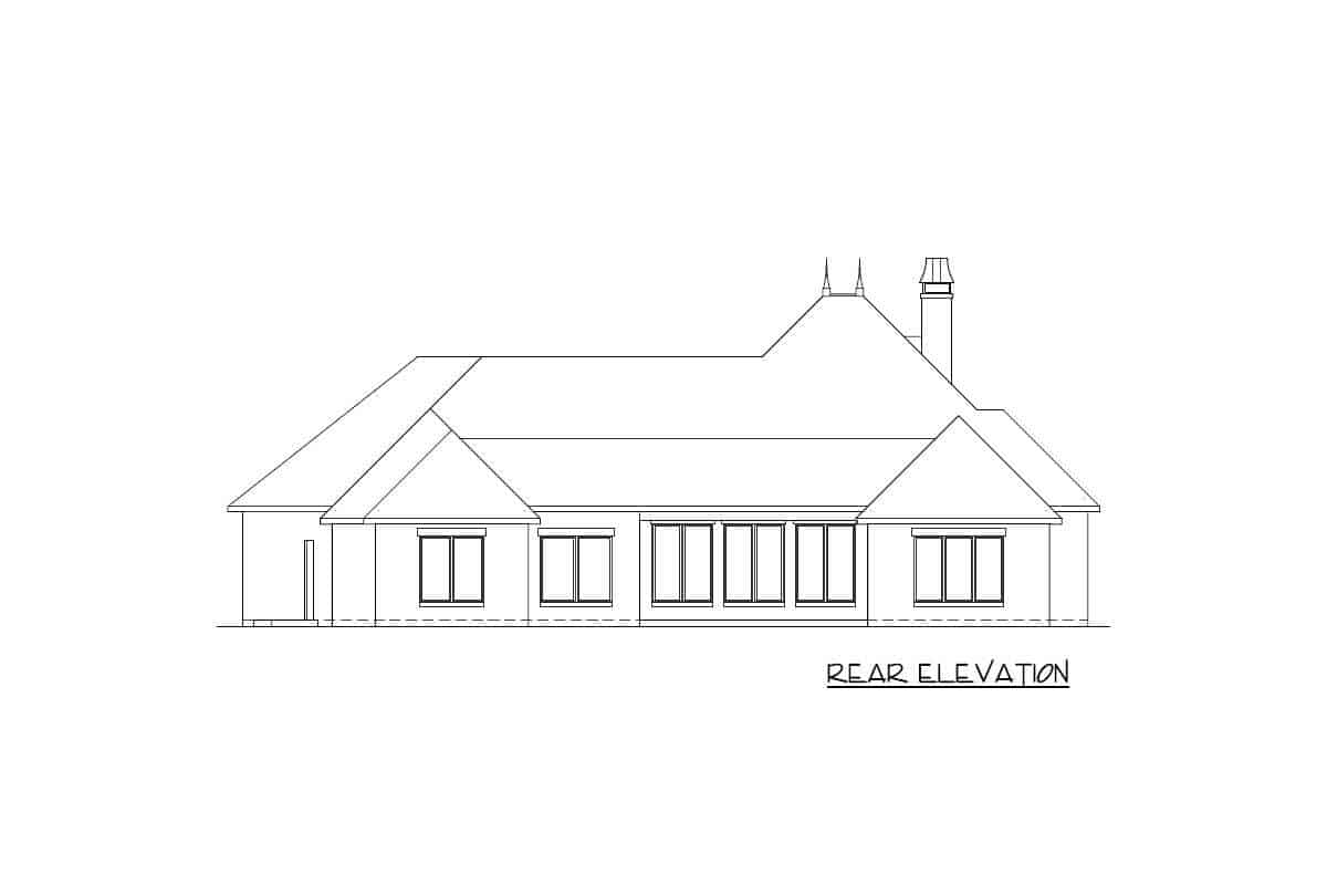 Rear elevation sketch of a single-story French Country home.