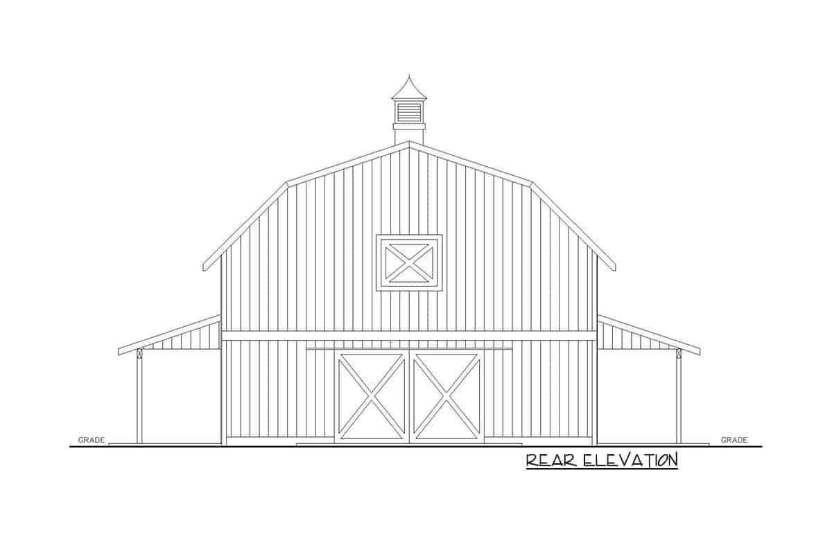 Rear elevation sketch of a two-story barn-style home.