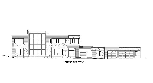 Front elevation sketch of the 3-bedroom two-story Lovett home.