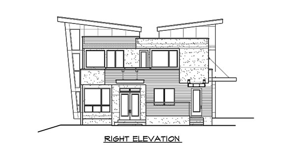 Right elevation sketch of the 3-bedroom two-story Lovett home.