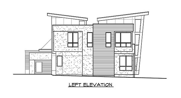Left elevation sketch of the 3-bedroom two-story Lovett home.