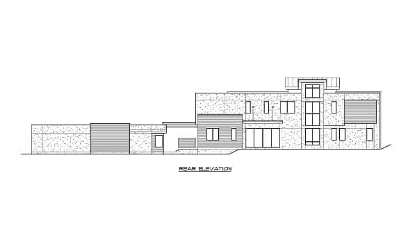 Rear elevation sketch of the 3-bedroom two-story Lovett home.