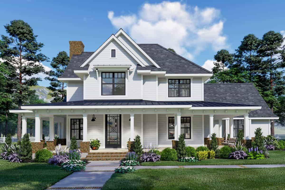 3-Bedroom Two-Story Modern Farmhouse (Floor Plan)