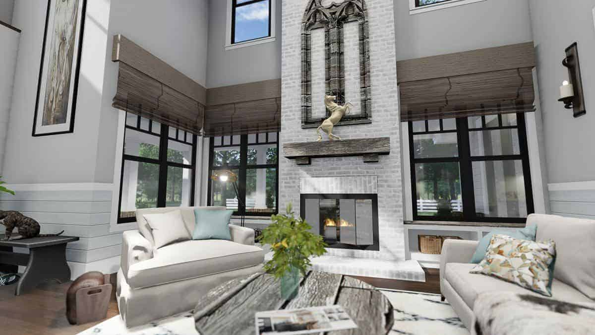 The brick pillar with a glass-enclosed fireplace adorned by a horse sculpture and an arched wall decor.