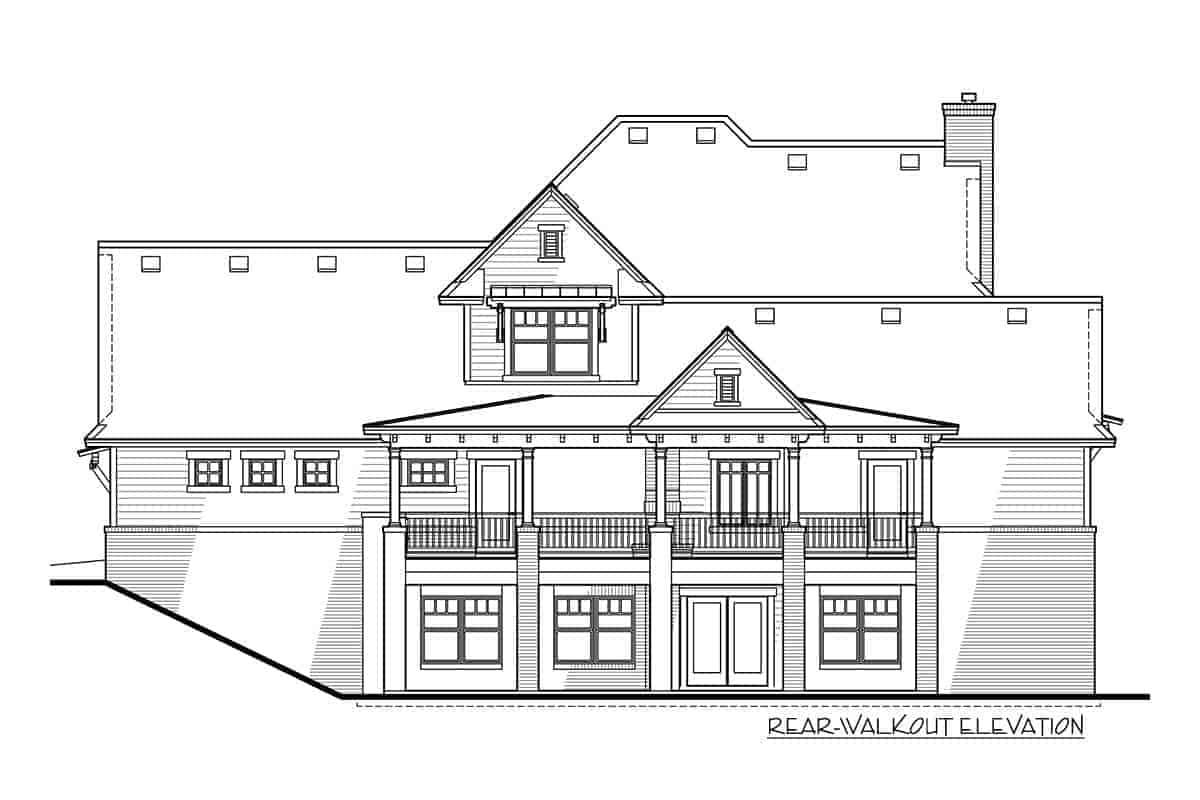 Rear-walkout elevation sketch of the two-story modern farmhouse.