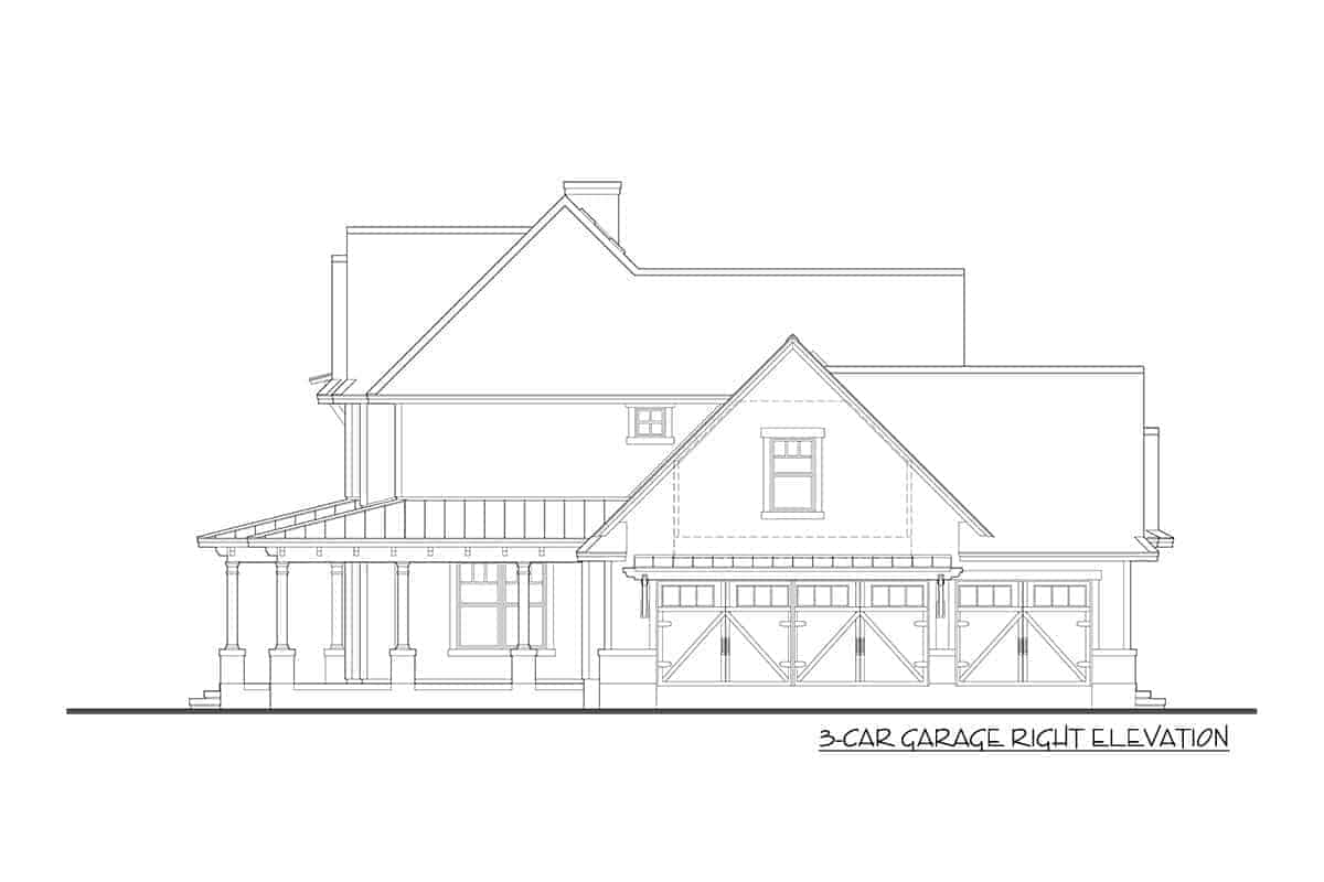 3-car garage right elevation sketch of the two-story modern farmhouse.