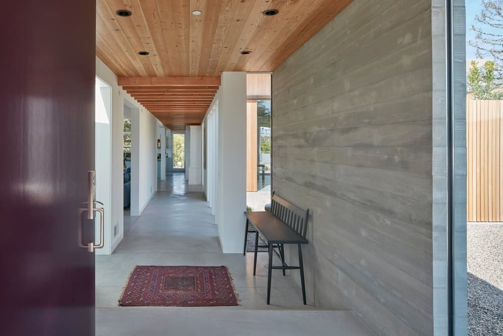 Hallway in the Modern-Day California Ranch House designed by Malcolm Davis Architecture.