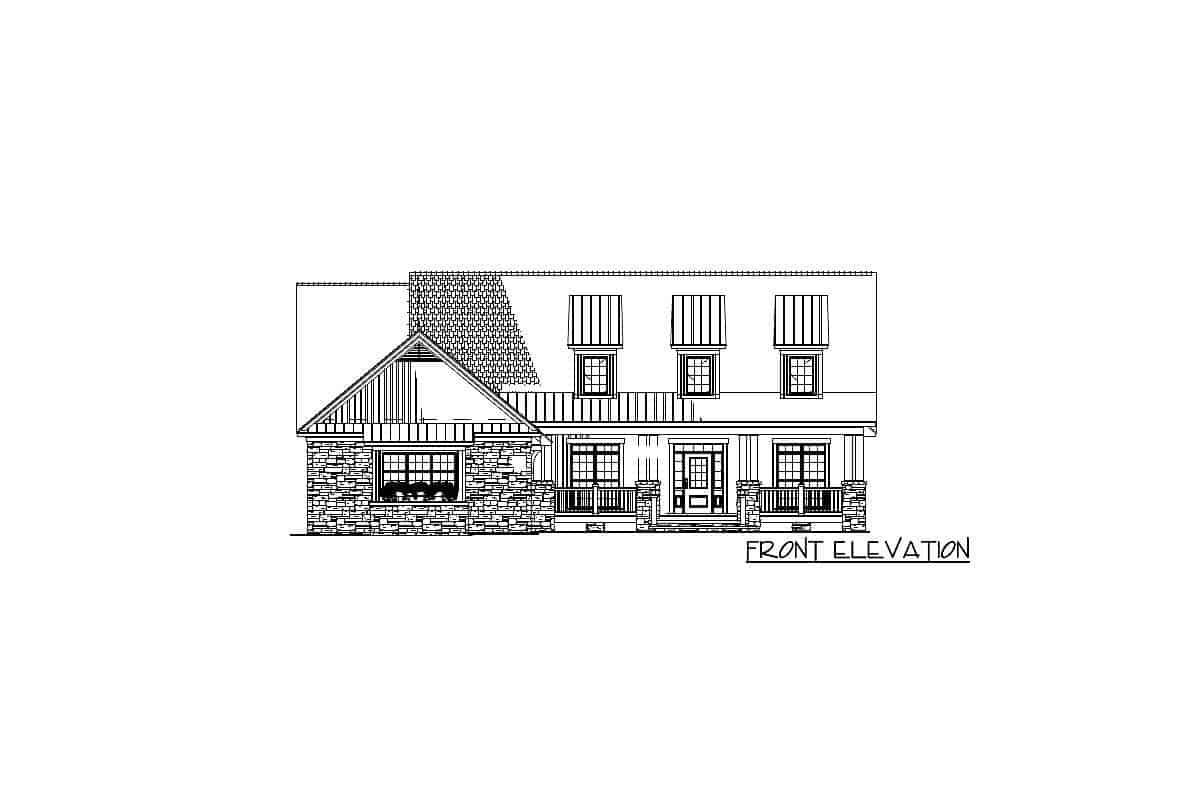 Front elevation sketch of the 2-story craftsman home.
