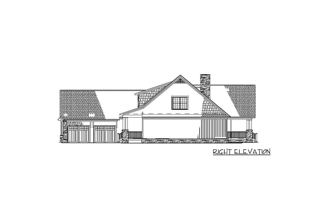 Right elevation sketch of the 2-story craftsman home.