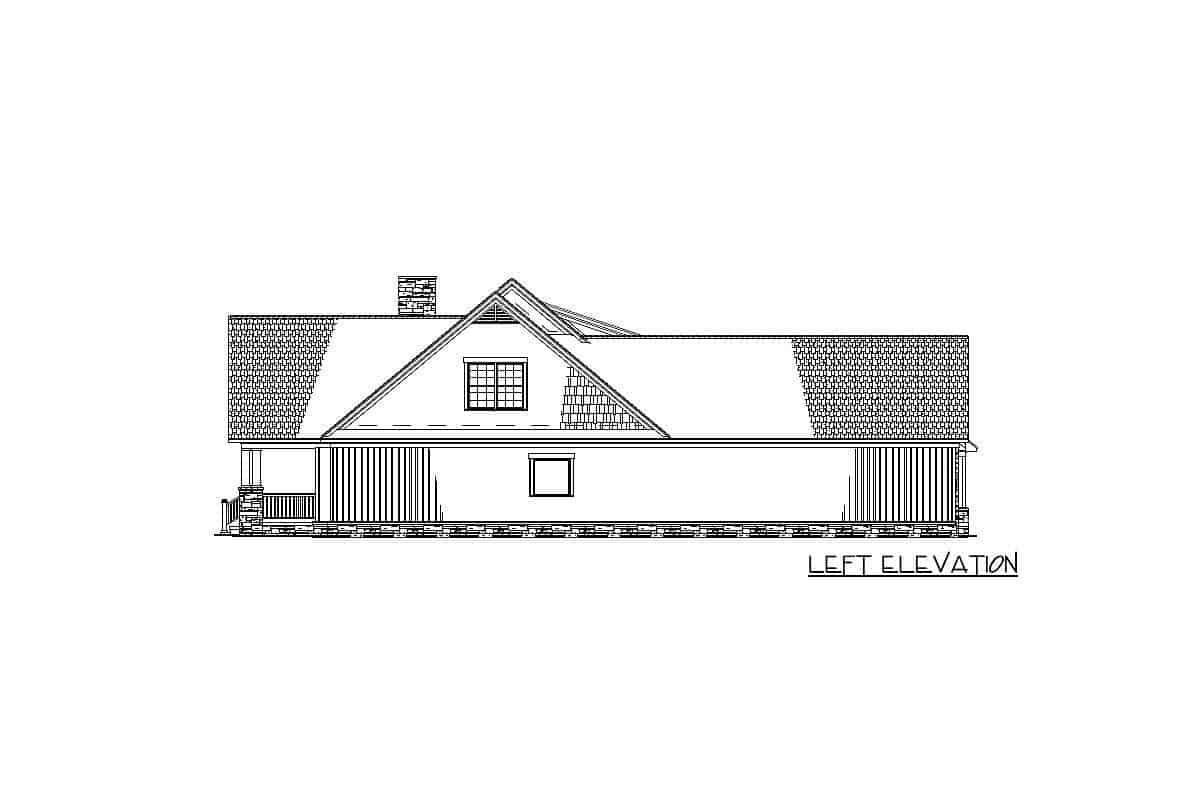 Left elevation sketch of the 2-story craftsman home.