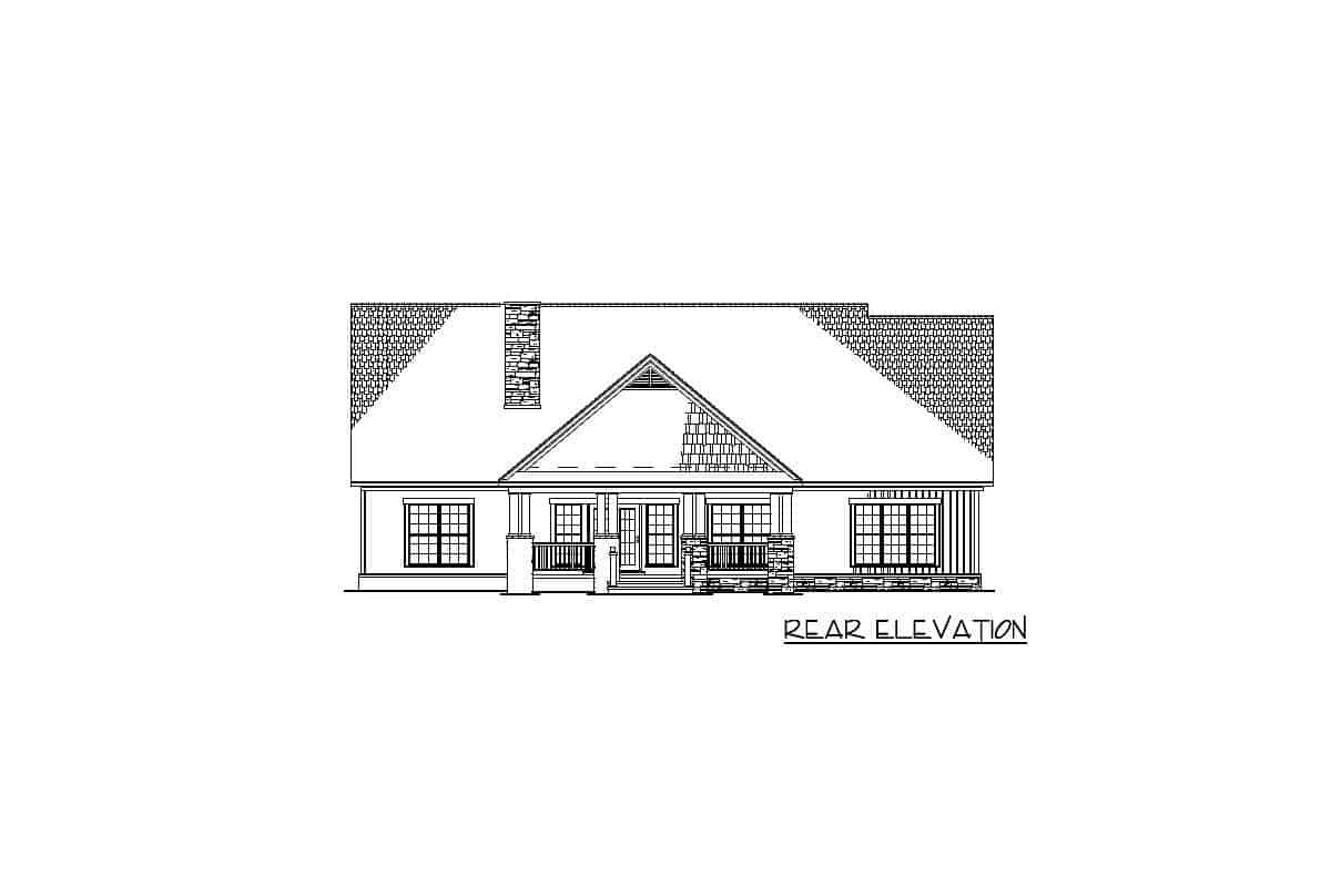 Rear elevation sketch of the 2-story craftsman home.