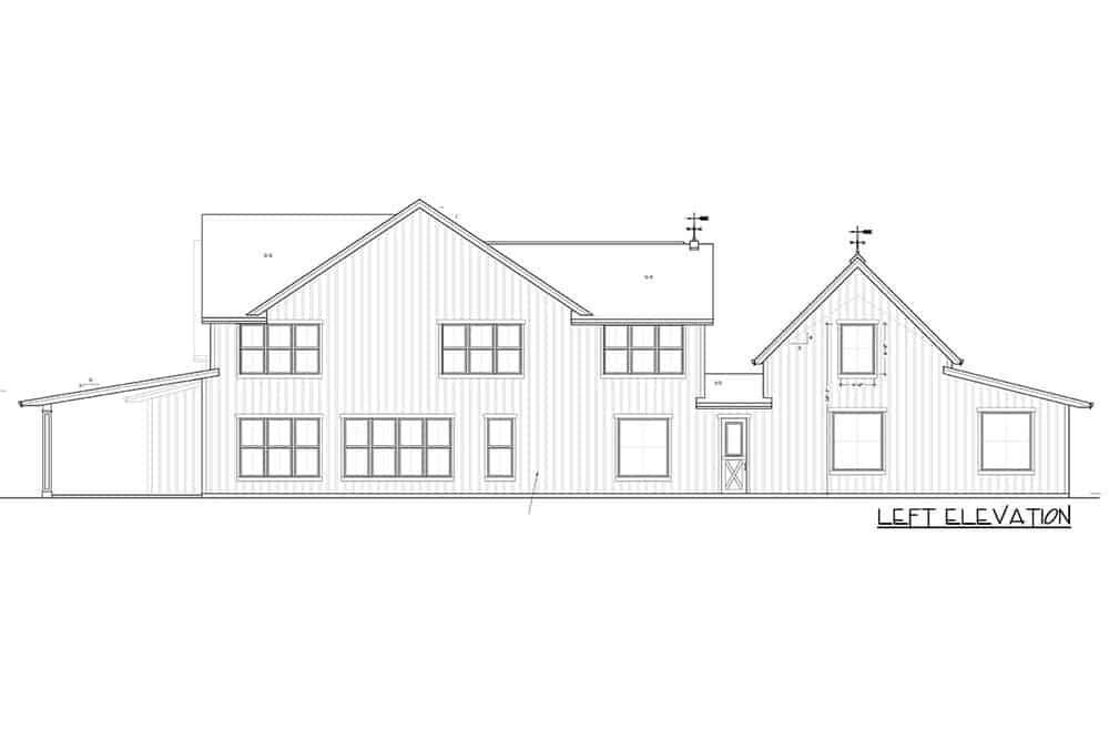 This is the left elevation of the house showing the large covered patio of the rear and the garage on the opposite side with its own exit.