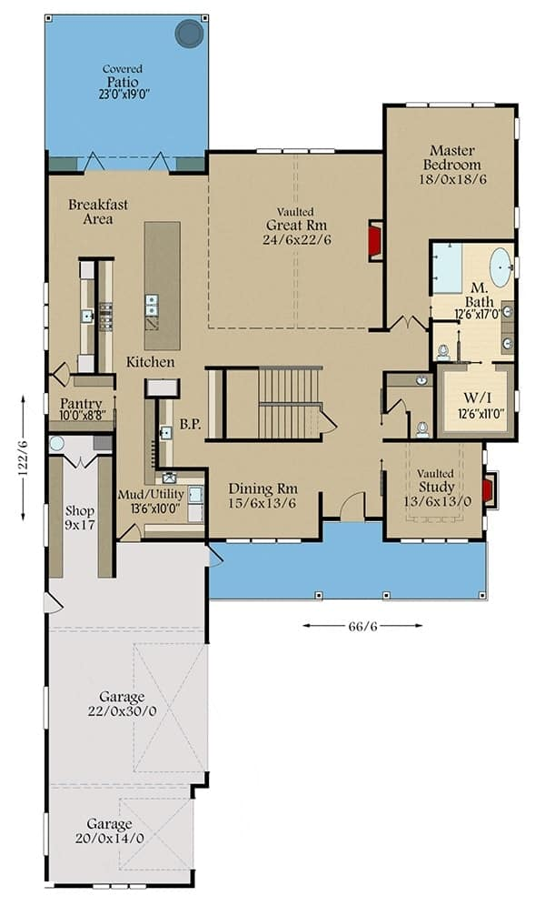 This is the main level floor plan of the two-story Farmhouse-style home with a three-car garage and a large covered patio on the opposite end.