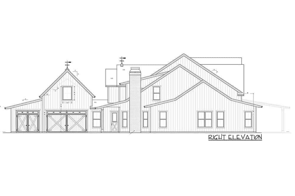 This is the right elevation of the house showcasing the garage doors along with the charming chimney on the right side of the house.