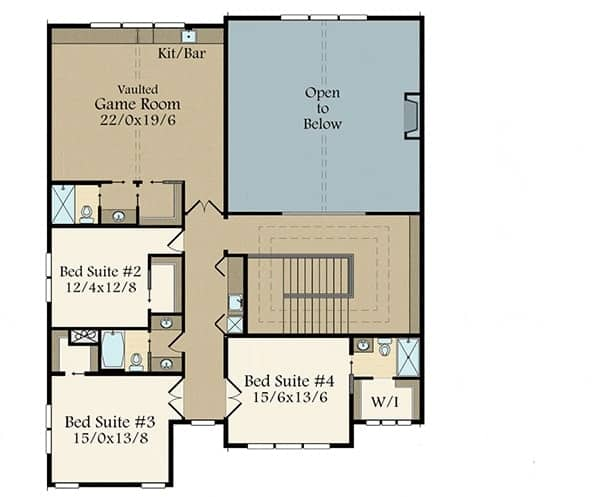 This is the second level floor plan showcasing the large bedroom suites, a large game room and an indoor balcony.