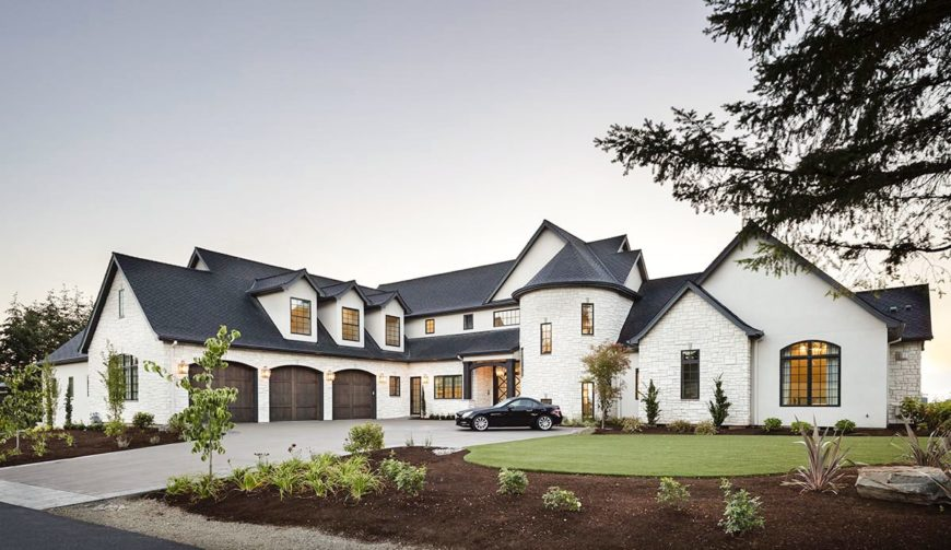 This view of the front of the house shows the gorgeous design that makes it seem like different building of shapes and sizes fused together into a beautiful symphony.