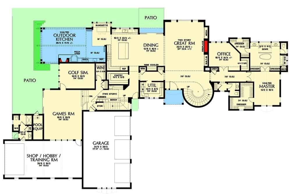 This main level floor plan showcases the different large sections of the house that offer lifestyle and comfort.
