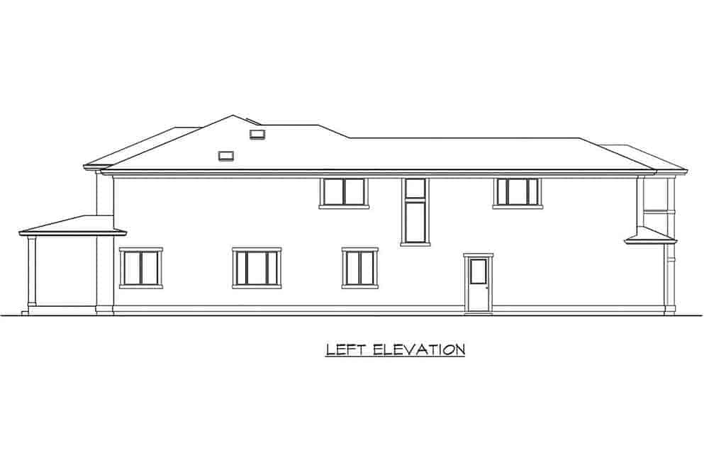 This is the left elevation of the home. On this side, there are only a few small windows and an exit door on the main level behind the garage.