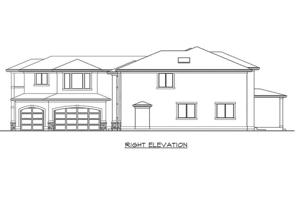 The right elevation of the house features the large garage door that can fit up to three cars. You can also see here that there is an exit on the right wall.