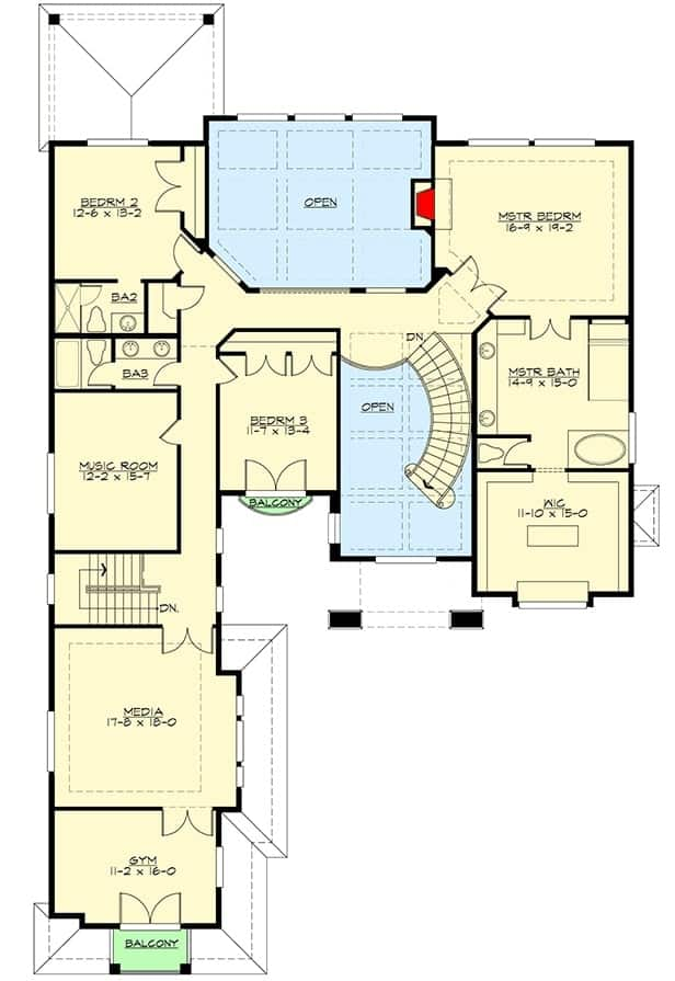 This is the second level floor plan of the house. You can see here that there is a couple of large areas dedicated to open spaces for a nice couple of indoor balconies with a view of the level below.