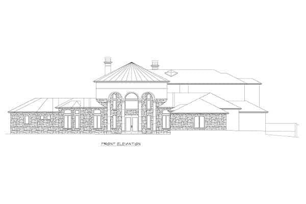 Front elevation sketch of the three-story Rodeo home.