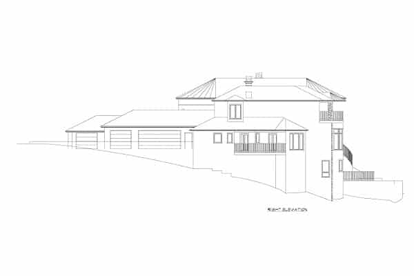 Right elevation sketch of the three-story Rodeo home.