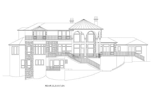 Rear elevation sketch of the three-story Rodeo home.