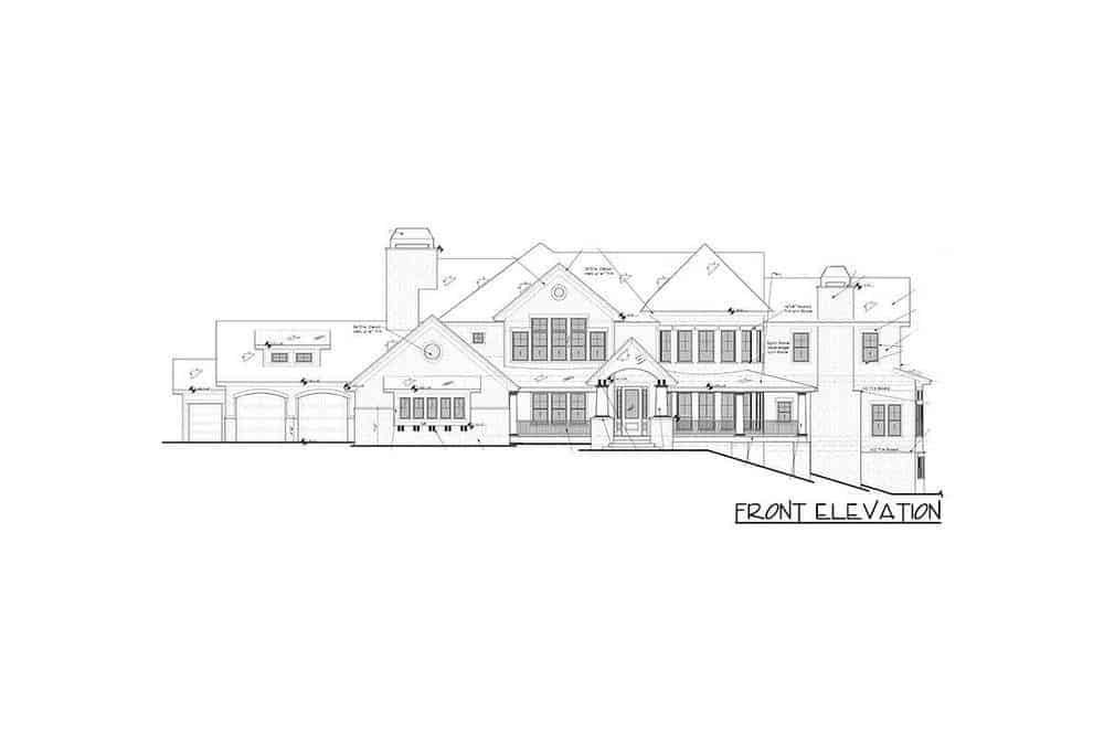 This is the front elevation of the house that showcases the front porch with a portion of it on a slanting portion of the ground.