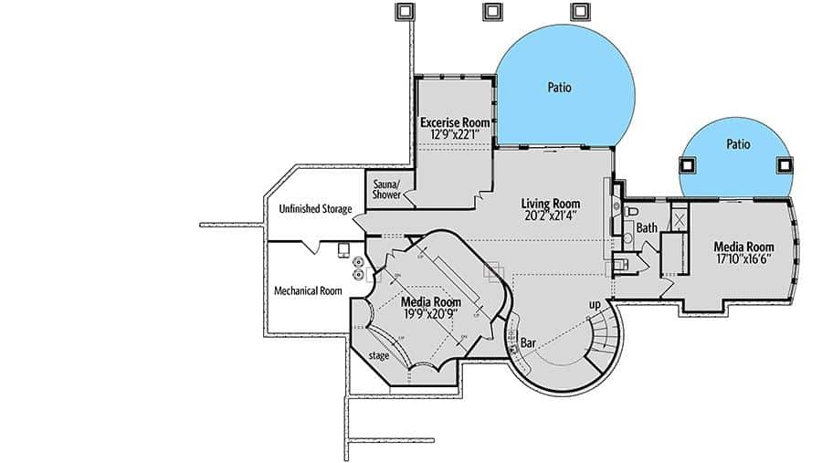 This is the optional lower level floor plan of the house with lots of space for a couple of media rooms, a living room and a gym.
