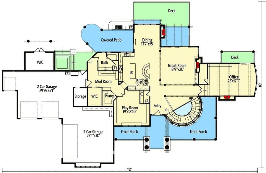 This is the main level floor plan of the Traditional-style home with most of the space used for the garage and outdoor areas. The main interiors are dominated by the large great room, office, dining room and the play room near the porch.