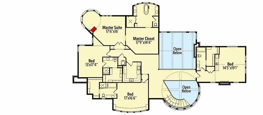 The second level floor plan is mostly dedicated to the bedrooms and the primary suite with a couple of open areas for indoor balconies.