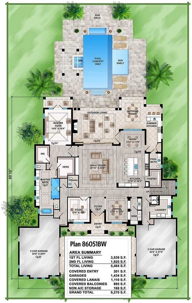 This is the main level floor plan showing the pair of garages, a central great room and a large backyard space with a pool.