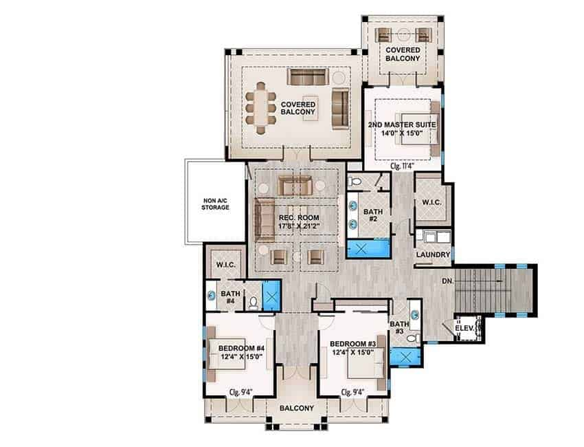 The second level floor plan features bedrooms, a recreational room and cozy covered balconies.