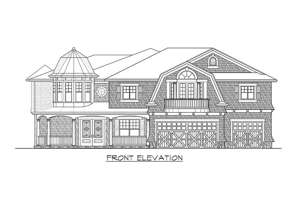 Front elevation sketch of the two-story cape cod home.