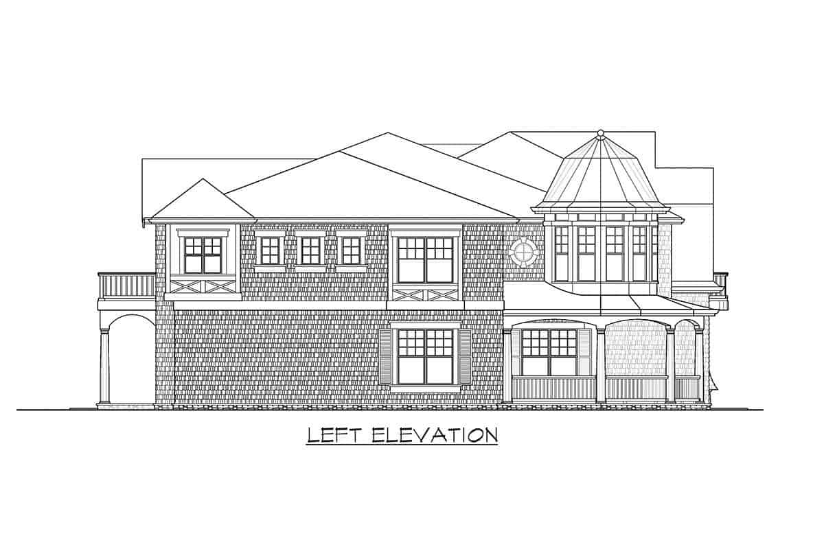 Left elevation sketch of the two-story cape cod home.