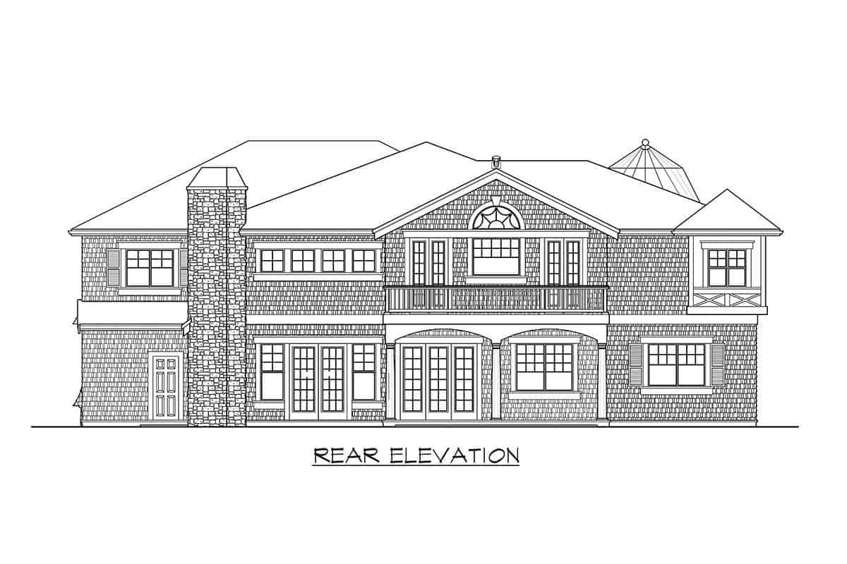 Rear elevation sketch of the two-story cape cod home.