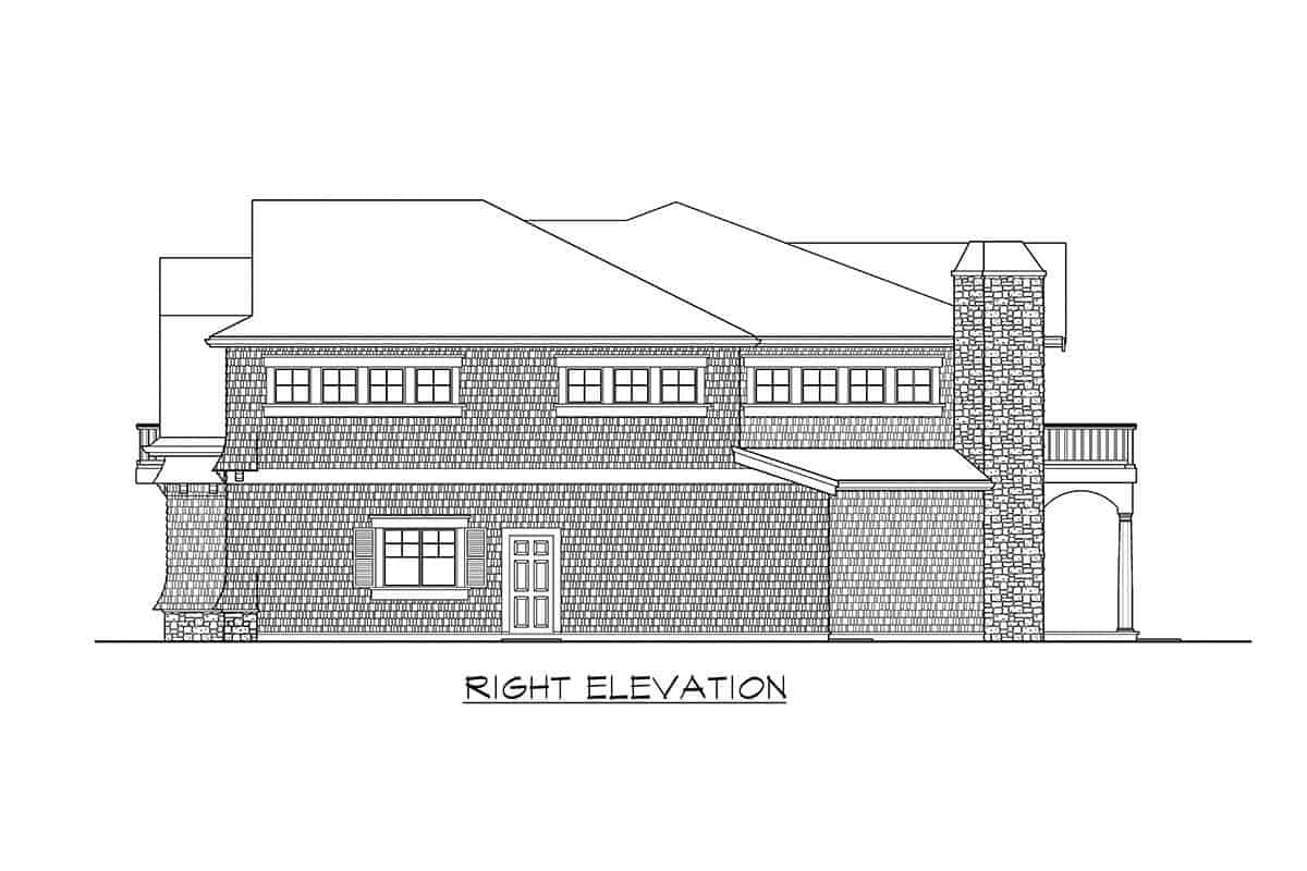 Right elevation sketch of the two-story cape cod home.