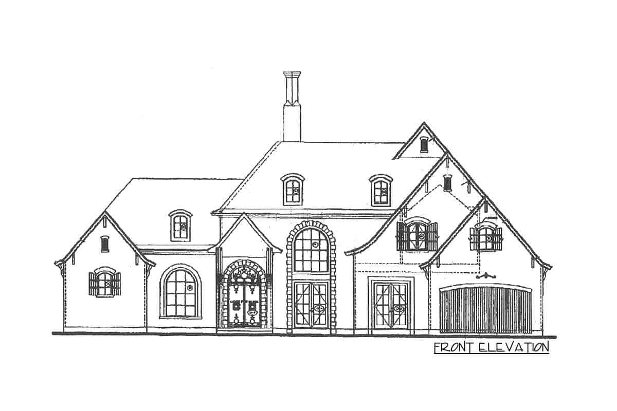 Front elevation sketch of the two-story French Country manor.