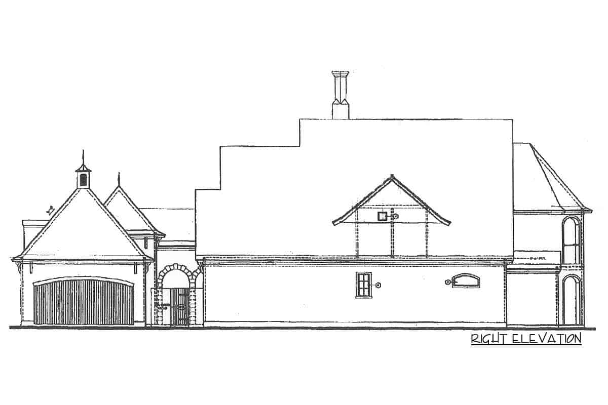 Right elevation sketch of the two-story French Country manor.