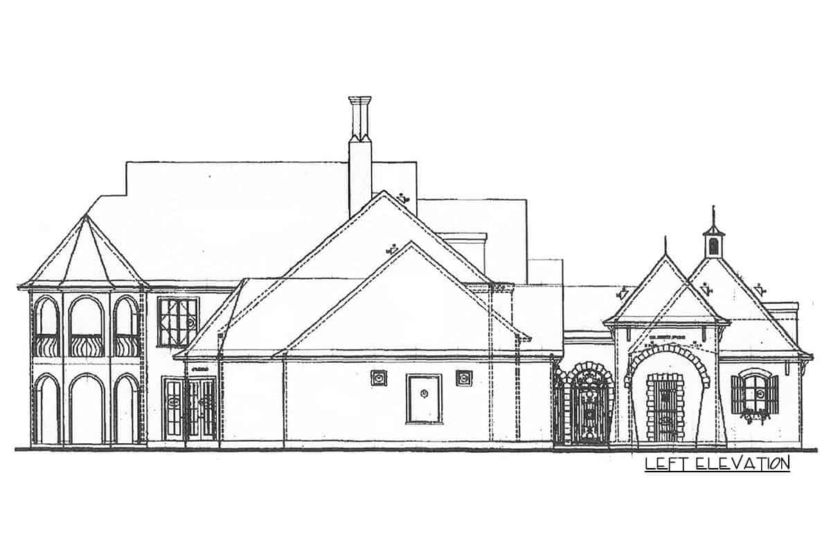 Left elevation sketch of the two-story French Country manor.