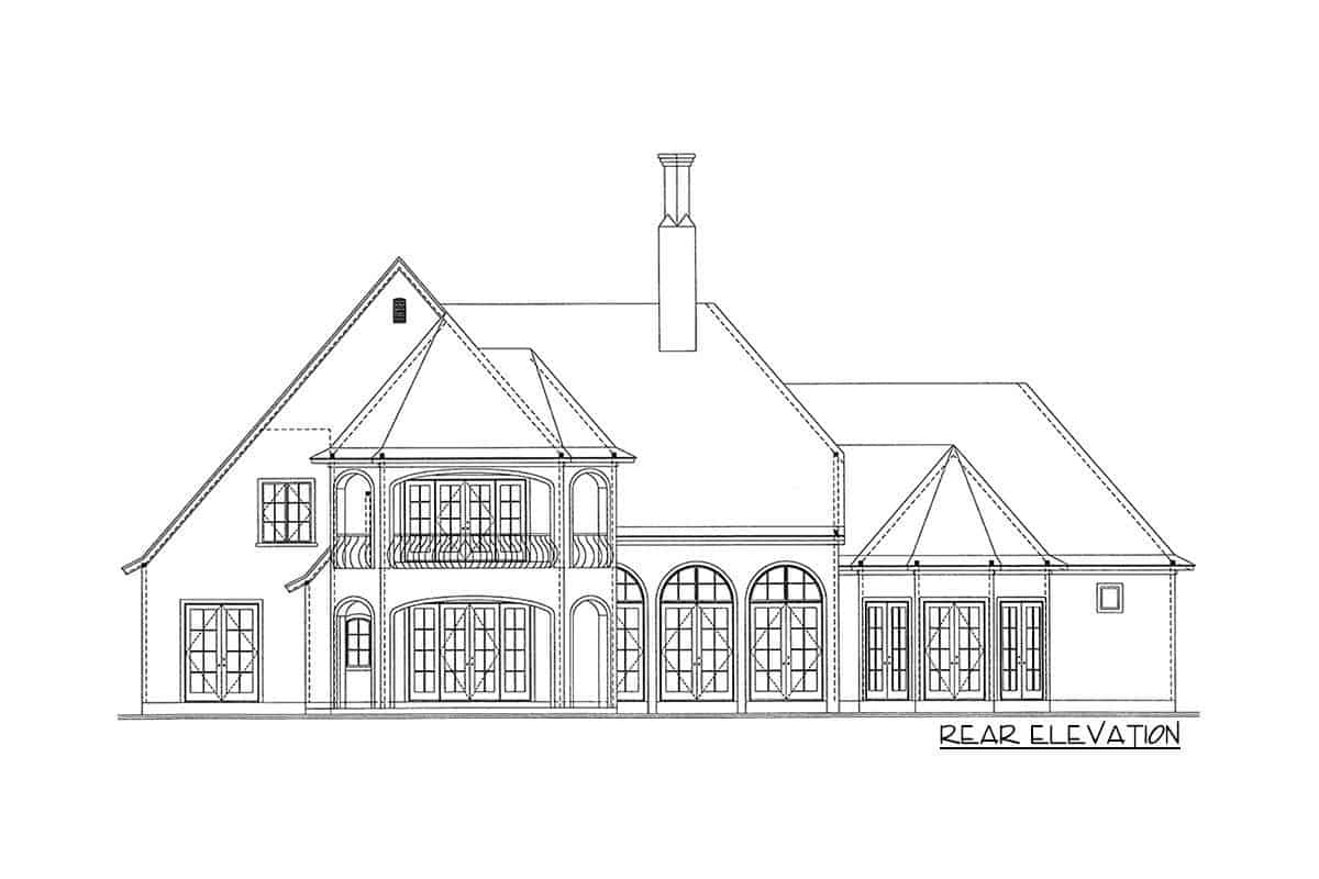 Rear elevation sketch of the two-story French Country manor.