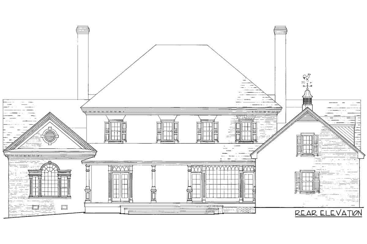 Rear elevation sketch of the two-story luxury Georgian home.