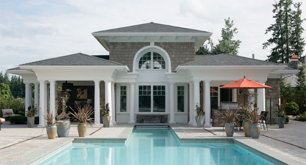 A closer look at the clubhouse shows the front porches flanking the arched window.