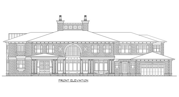 Front elevation sketch of the two-story The Retreat at Waters Edge.
