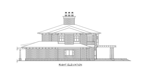 Right elevation sketch of the two-story The Retreat at Waters Edge.