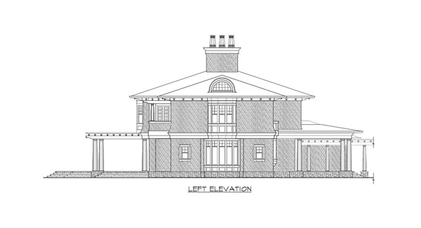 Left elevation sketch of the two-story The Retreat at Waters Edge.