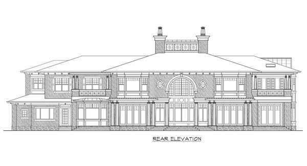 Rear elevation sketch of the two-story The Retreat at Waters Edge.